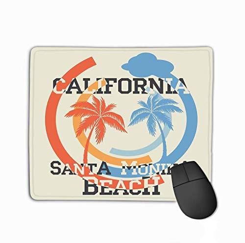 Rectangle Non-Slip Rubber Mousepad 11.81 X 9.84 Inch santa monika california beach typography sport emblem vintage wear print design