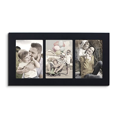 Adeco Decorative Wood Divided Wall Hanging Artwork Print Picture Photo Frame, 3 Opening 5x7 (Black)