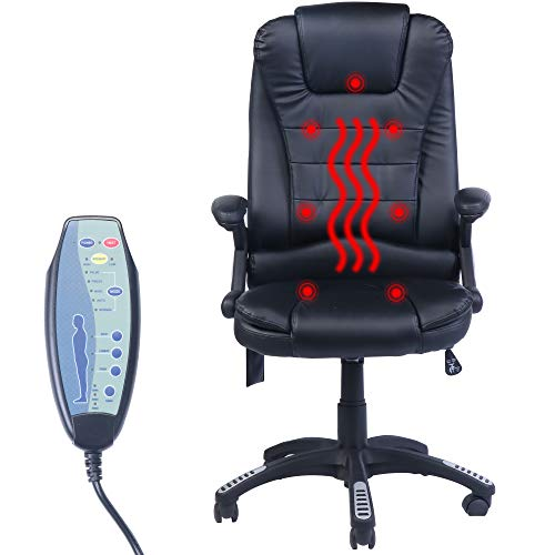 HEYNEMO Massage Office Chair, Gaming Chairs Leather High Back Office Chair Desk Chair with Remote Heated, Adjustable Reclining Executive Swivel Chairs, Ergonomic Office Chair for Lumbar Support, Black