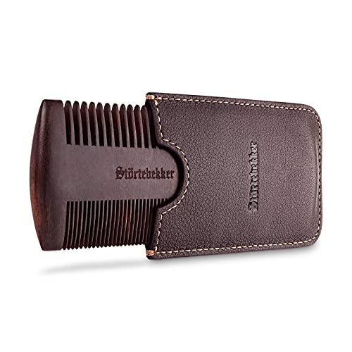 Störtebekker® Premium Bartkamm aus Holz mit handgefertigtem Lederetui - Perfekte Geschenkidee - Bringt jeden Bart in Form dank beidseitiger Verzahnung - inkl. Rasur- und Bartguide