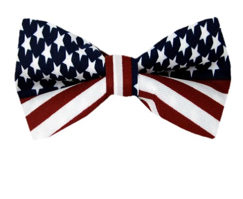 FBT-FLAG – Red – White – Blue – American Flag Self Tie Bow Tie