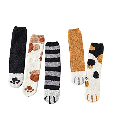 HOT!Somerl kuschelsocken strümpfe Mode schöne Katze Claw Coral Cooton Middle Strümpfe 6 Paar Socks(D,Free)