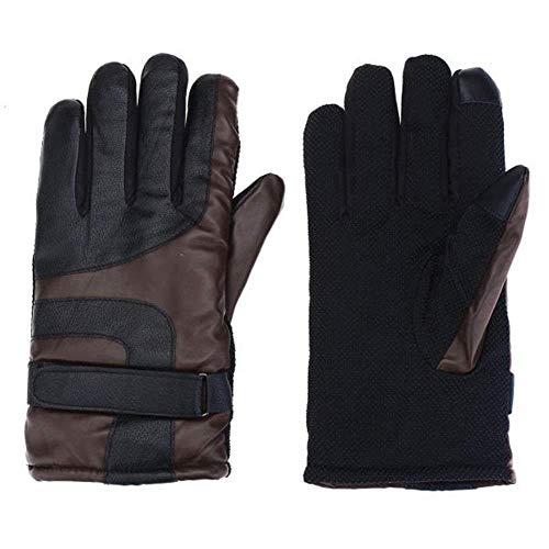 SGYCB Gants d'équitation en Plein air Gants Moto d'hiver Chauds Gants de Protection Coupe-Vent imperméable imperméables for Hommes Femmes, Gris, Noir (Color : Brown)