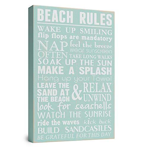 Beach Rules Wooden Box Wall Sign Beach House Decor Sign...