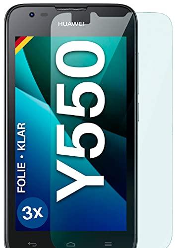 moex Klare Schutzfolie kompatibel mit Huawei Ascend Y550 - Bildschirmfolie kristallklar, HD Bildschirmschutz, dünne Kratzfeste Folie, 3X Stück