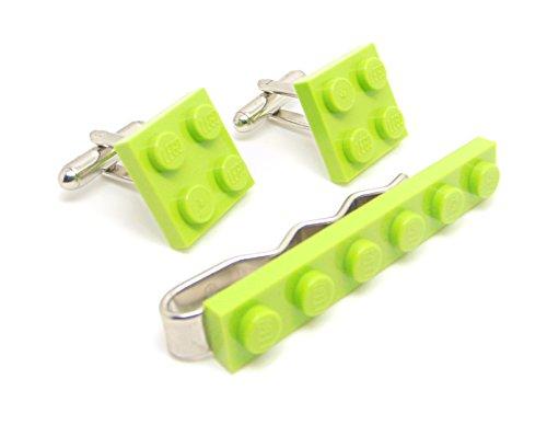 Vert citron véritable plaque de Lego Pince à cravate et boutons de manchette – Funky rétro Cool Boutons de manchette fabriqué par Jeff Jeffers