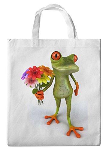 Merchandise for Fans Einkaufstasche- 38x42cm, 8 Liter - Motiv: 3D Comic Frosch mit Blumenstrauß - 31