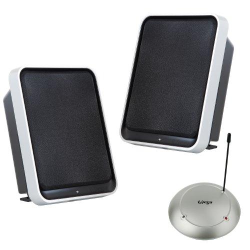 VSG SP-1380 Stereo Funk Lautsprecher Set mit Bass Boost – Kabellose Audio Speaker Reichweite bis 100 m, Plug&Play, Sinusleistung 2 x 3,5 Watt - Schwarz
