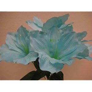 16″ Inch Bouquet 2 Bushes Blue Amaryllis Artificial Silk Flowers