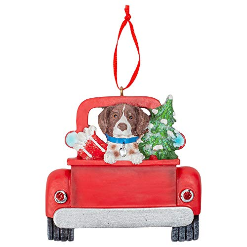 Kurt Adler A1940GP German Shorthaired Pointer in Back of Truck Hanging Ornament for Personalization, 5-inch High, Resin