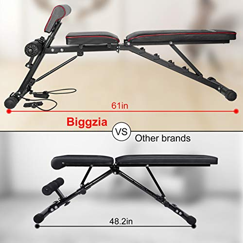 """Product Image 3: Bigzzia Weight Bench 61"""", Adjustable Strength Training Bench for Full Body Workout-Hyper Back Extension, Roman Chair, Incline Decline Bench, Dumbbells Bench with Widen Seat"""