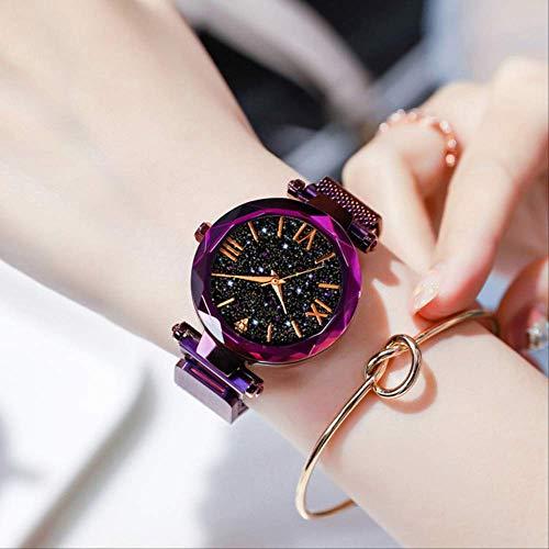 WFQ Uhr Sternenhimmel Damen Uhren Rose Gold Armband Magnet Mesh Band Strass Quarz Armbanduhr C Lila Diamant Armbanduhr