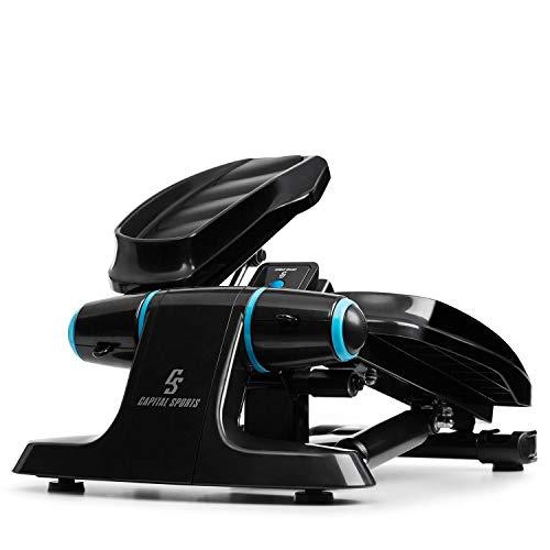 CapitalSports Galaxy Step - Máquina de Step, 2 Power Ropes de Apoyo, hasta 120 Kg,Ordenador de Entrenamiento, App FitShow, Bluetooth, Sistema hidráulico de absorción de pisada, Pantalla LCD, Azúl