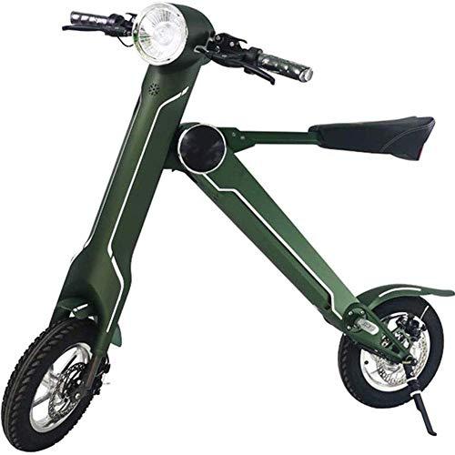 LLLQQQ Motorino Elettrico Pieghevole, con l'altoparlante Bluetooth 12 Pollici Portable Scooter Elettrico Adulti Piccolo Bicicletta elettrica di Crociera Gamma di 40 km,Verde