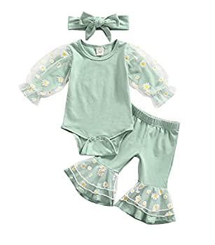3 Pcs Daisy Pattern Outfits Baby Girls Mesh Patchwork Playsuit Flared Pants Headband  Green 3-6 Months