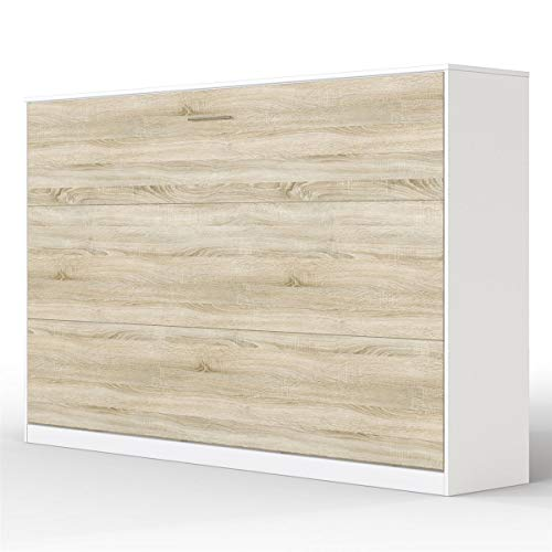 SMARTBett Basic Cama abatible Cama Plegable Cama de Pared (Blanco/Roble Sonoma, 120 x 200 cm Horizontal)