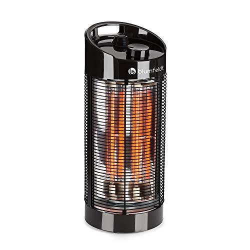 Blumfeldt Heat Guru 360 - Calefactor de pie, Radiador, Estufa de infrarrojos, Protección IPX4, Oscilación de 120° / 360 °C, Para interiores o exteriores, Potencia máx. 1200 W, 22 x 56 cm, Negro