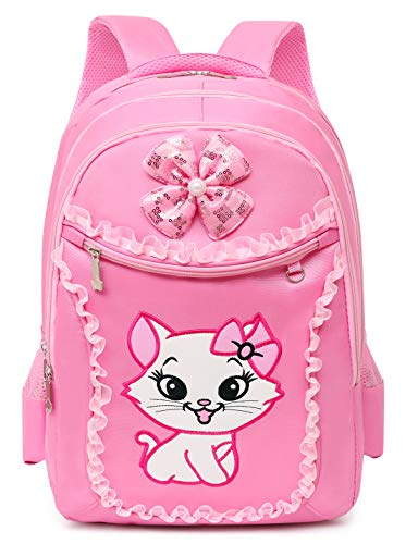 HICCUPfishCute Cat Printing Lace Backpack Lightweight Princess School Bag Kids Bookbag for Primary Girls (Pink Set)