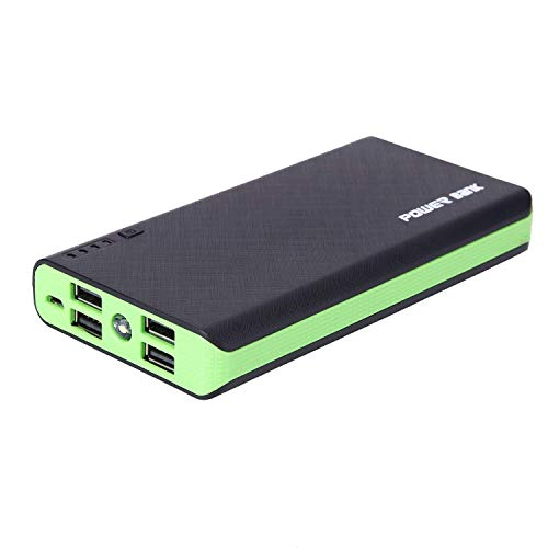 4 USB 50000mAh Portable Charger Power Bank High Capacity External Backup Battery Charger with LED Light for Cell Phone (Green)