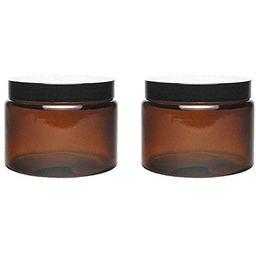 mikken 2 Glastiegel 500ml / Salbentiegel/Cremetiegel Braunglas inkl. Beschriftungstiketten Glasdosen, Glas, Braun, 11 x 11 x 8.5 cm, 2-Einheiten