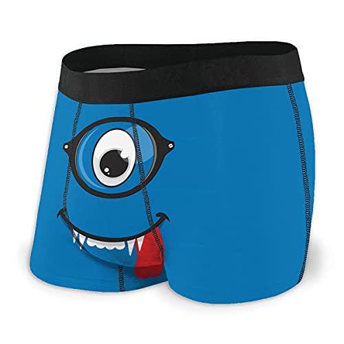 DWHAO Herren-Boxershorts, Smiley-Monster-Tiere, Boxershorts, Cartoon-Unterwäsche, Größe Gr. S, Schwarz