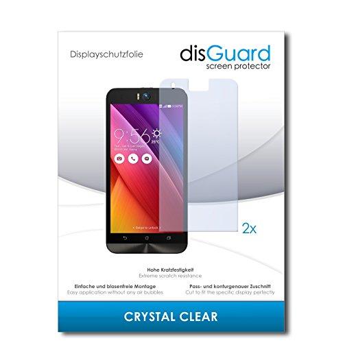 disGuard® Bildschirmschutzfolie [Crystal Clear] kompatibel mit Asus ZenFone Selfie [2 Stück] Kristallklar, Transparent, Unsichtbar, Extrem Kratzfest, Anti-Fingerabdruck - Panzerglas Folie, Schutzfolie