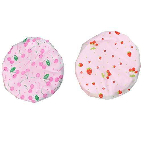 Artibetter 2Pcs Bonnets de Douche Chapeaux de Protection Imperméables Bonnets de Bain de Protection à Séchage Rapide (Motif Fraise Rose Et Cerise)