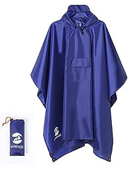 Multifunctional Mens Womens Rain Poncho Waterproof Outdoor Raincoat Deep Blue