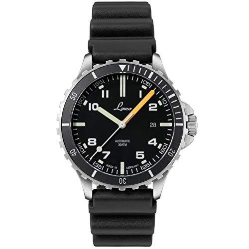 LACO Himalaya 862106 - Reloj de pulsera deportivo para hombre, correa de caucho negra, cristal de zafiro, diámetro 42 mm, ETA 2824.2 (Elaboré) automático, incluye estuche