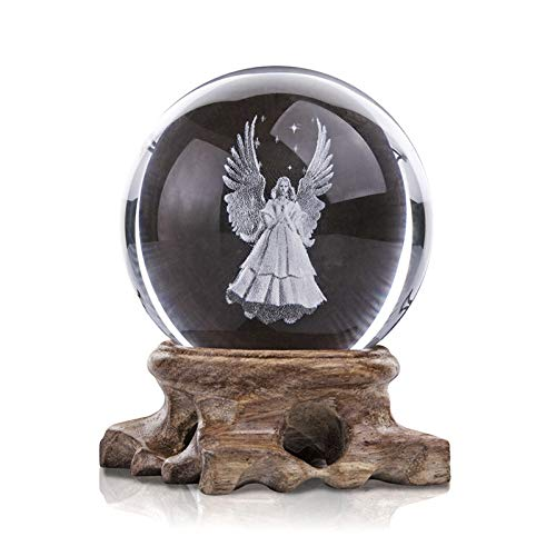 xilinshop Decor Photography Ball 3D Engraved Guardian Angel Sphere 60mm Crystal Ball with Wooden Base Figurine Decorative Art for Home Housewarming Gift Contact Juggling Ball