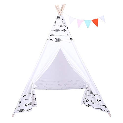 N\A Christmas holiday Children Teepee Tent Baby Indoor Dollhouse with Small Coloured Flags roller shade and pocket Arrow Pattern