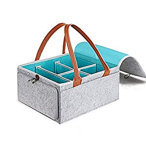 Large Diaper Caddy Organizer Baby Nursery Storage Basket with Zipper Lid and Leather Handle Baby Shower Gift Wipes Stacker Bin Holder – 38 x 25 x 18 cm