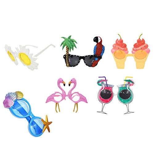 Amosfun 6pcs Gafas de Sol Luau Hawaianas en la Playa Gafas de Sol de Fiesta Tema Tropical Fiesta de Verano Gafas