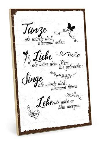 TypeStoff Holzschild mit Spruch – TANZE, Liebe, Singe, LEBE – Shabby chic Retro Vintage Nostalgie deko Typografie-Grafik-Bild bunt im Used-Erscheinungsbild aus MDF-Holz (28,2 x 19,5 cm)