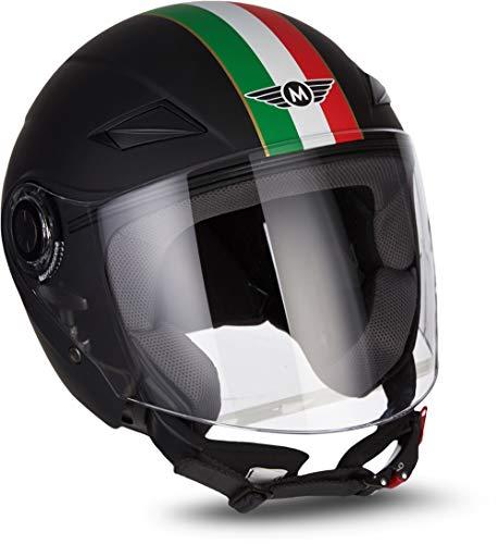 "MOTOHelmets® U52 ""Venice Black"" · Jet-Helm · Motorrad-Helm Roller-Helm Scooter-Helm Bobber Mofa-Helm Chopper Retro Cruiser Vintage Pilot Biker Helmet · ECE Visier Schnellverschluss Tasche S (55-56cm)"