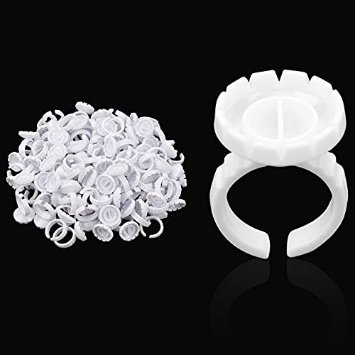 Glue Rings for Eyelash Extensions 2 Slot - for Tattoo Pigment Nail Art Adhesive Disposable Flower Glue Rings 100(PCS) by Nanaborn