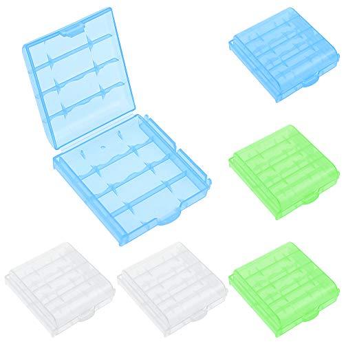 DXLing 6 Stück Kunststoff Batteriebox Akku Box für AA und AAA Batteriebox Aufbewahrungsbox für Batterien und Akkus Batterie Boxen Akkubox Batterie Boxen Aufbewahrung