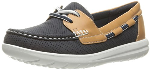 Clarks womens Jocolin Vista Boat Shoe, Navy Perforated Textile, 8.5 US