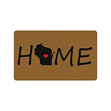 HOME(Wisconsin) Funny Design Indoor/Outdoor Doormat 30(L)X18(W) inch Non-Slip Machine-washable Home Decor