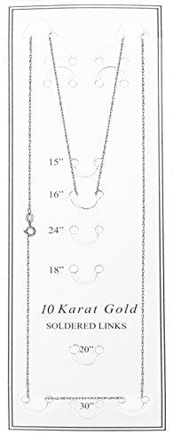 "Collier robuste avec chaîne en corde en or blanc massif 10K 16 ""0.9mm - 1"