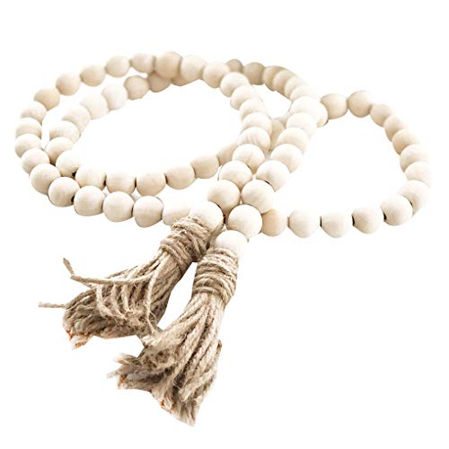 GFCGFGDRG Wooden Bead Garland Farmhouse Rustic Country Tassle Prayer Beads Wall Hanging Decorations