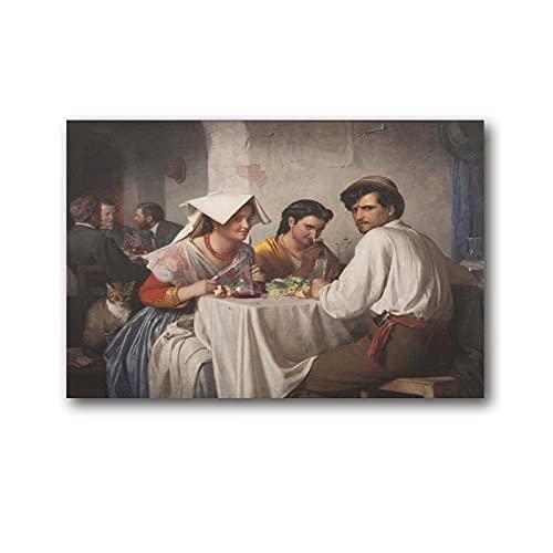 LIUSHUANG Carl Bloch In A Roman Osteria Künstler-Kunstwerk Leinwand Wandkunstdrucke Poster Geschenke Foto Bild Gemälde Poster Raumdekor Heimdekoration 30 × 45 cm