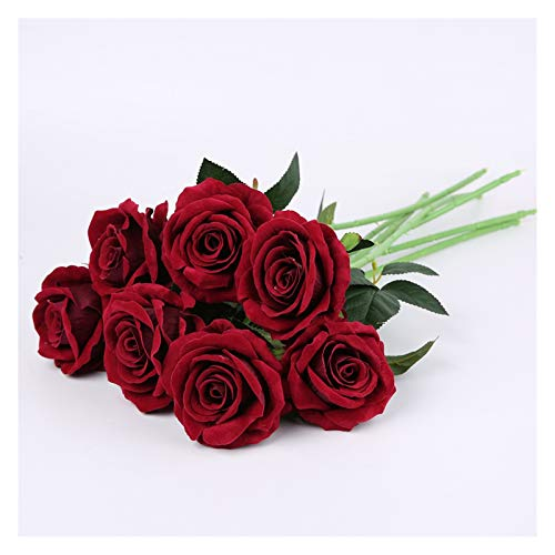 XIAOZSM Trockenblumen Künstliche Seide Rote Rosen Blumenstrauß Hochzeit Brautzubehör Blumenanordnung für Home Party Dekorative Blumen Künstliche Blumen (Color : Wine red Rose, Size : 1pc)