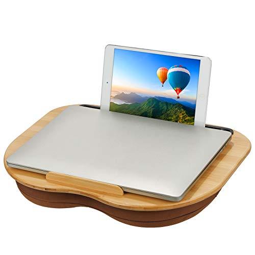 SMRONAR Mesa para ordenador portátil de bambú, con ranura para tablet, con cojín suave y plataforma de bambú, orificio para cables y rayas antideslizantes para el hogar y la oficina