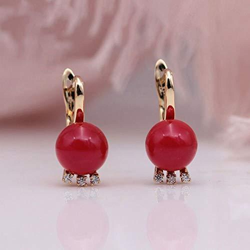 CHQSMZ Pendiente Nuevo 585 Oro Rosa Zirconia Natural AB Shell Perlas Pendientes Colgantes para Mujeres Boda Pendiente Largo Joyería Coral Red