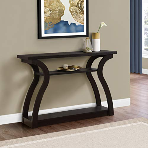 "Monarch Specialties 47"" Console Table - Sleek and Modern Accent Table for Your Home (Cappuccino/Dark Brown) (I 2445)"