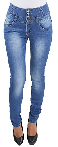 Damen Röhren Skinny Stretch Hochbund Jeans Hose Corsage Hochschnitt Slim Fit bis Übergröße BY498-Y1722 3XL/46