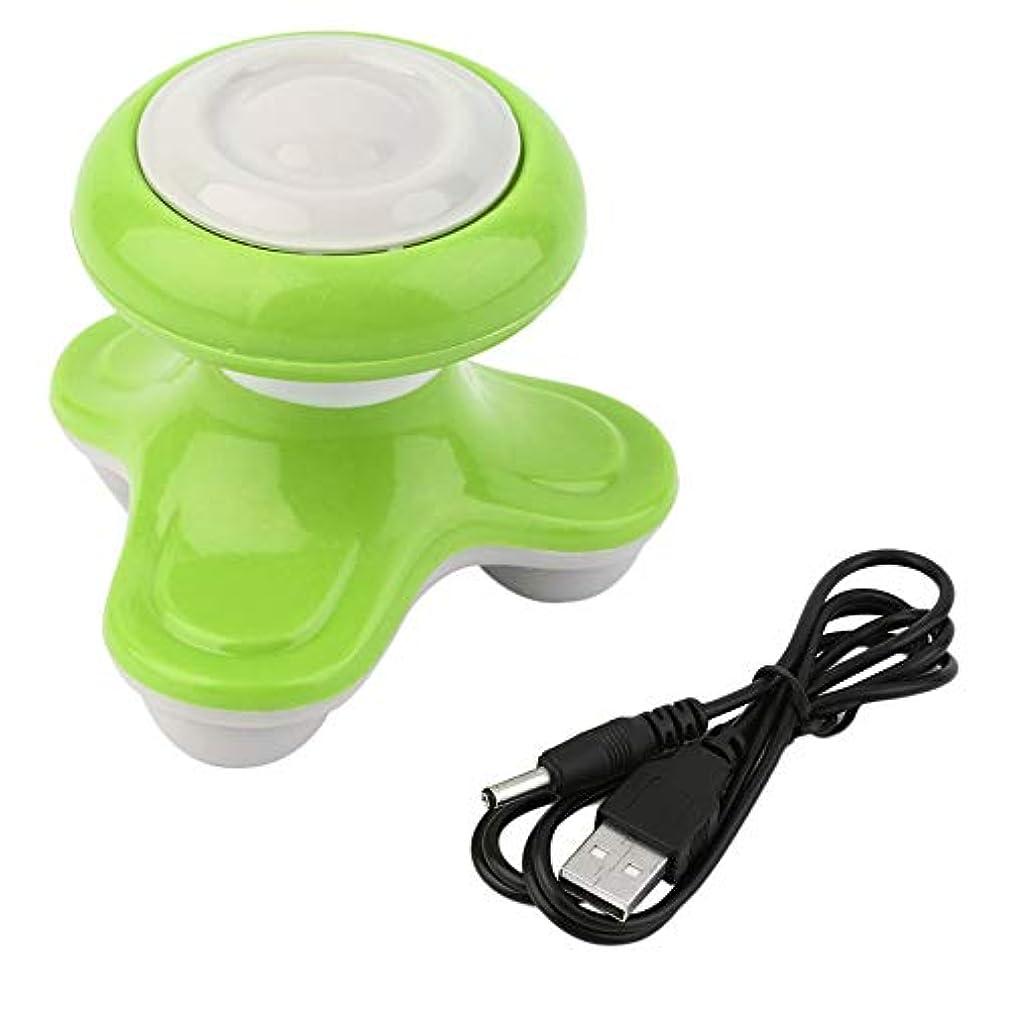 ジャケット独立した勝利ミニ電動ハンドル波振動マッサージ器USBバッテリーフルボディマッサージ持ち運びに便利な超小型軽量-グリーン