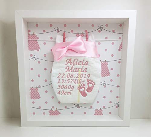 Windelrahmen Rosa/Bestickte Windel im Rahmen mit Leine/Personalisiertes Geschenk Baby Geburt Taufe etc.