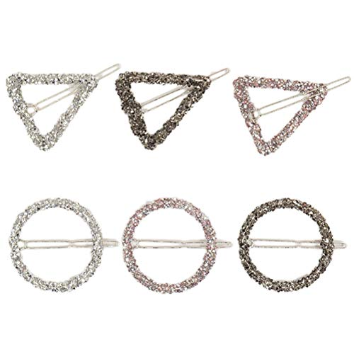 6pcs Geometric Hair Clips Hollow out Hairpin Crystal Hair Clamps for Women Girls